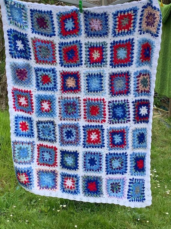 Vintage wool Granny square blanket throw, blanket