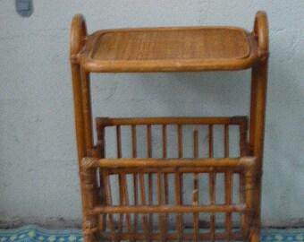 Bamboo and rattan stool, door plants, vintage magazine rack 1970