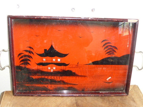 Tray very old, period ART DECO, glass and wood, asian painted design