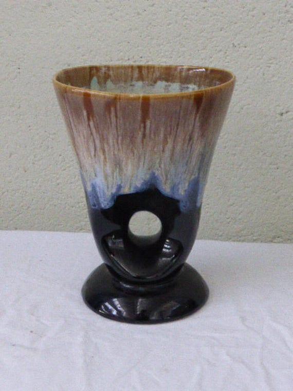 Designer vase in beige and black enamelled ceramic, vintage turquoise 1960