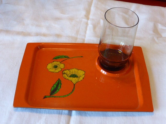 Orange flower tray and vintage brown glass 1970