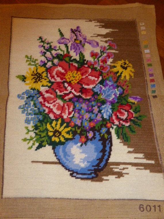tapestry canvas flowers vintage