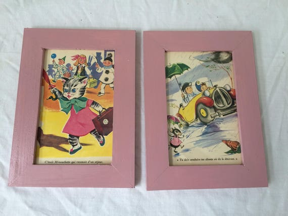 """Two childish frames with pictures vintage 1970 of the famous """"oui oui"""" and minouchette"""