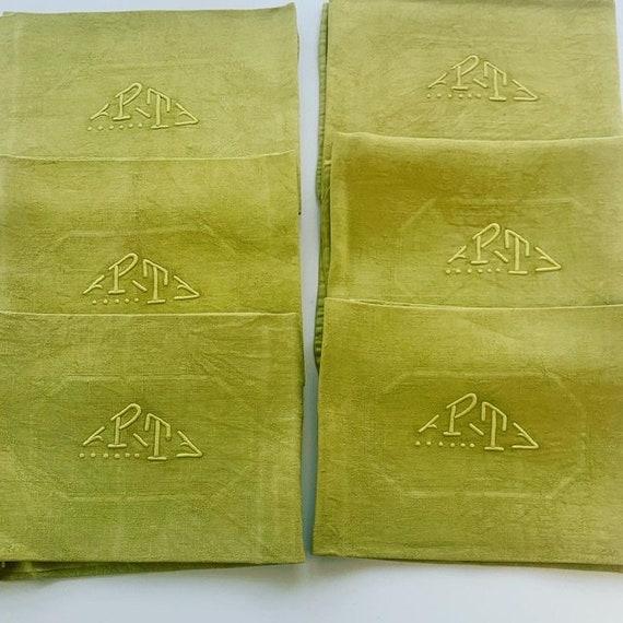 6 large monogrammed napkins PT, tinted absinthe green, old art deco