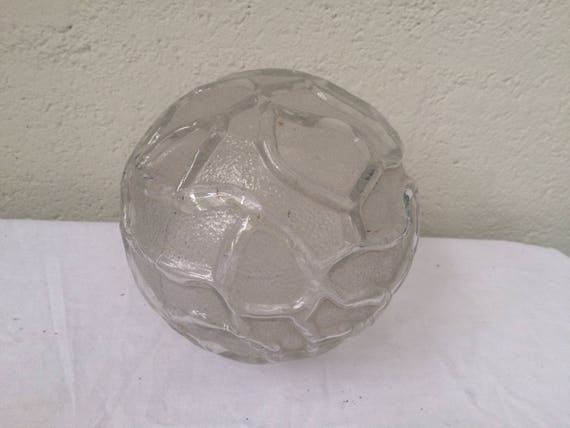GLOBE GLASS BALL transparent, pattern in relief, vintage 1950