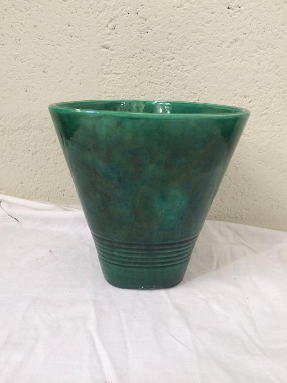 Vase, cache pot, enamelled ceramic green vintage 1950