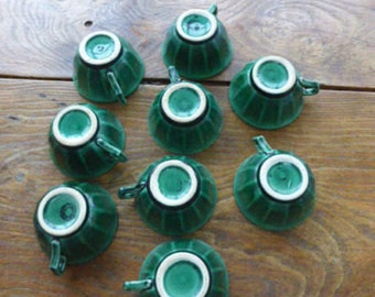 "9 cups in ceramics green vintage 1950 mark ""VOLCAN"" collector"