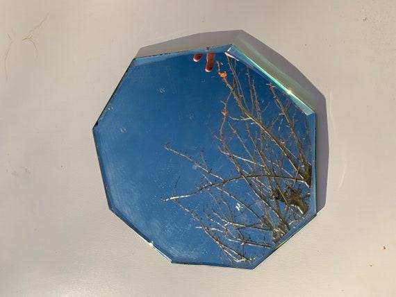 Superb octagonal mirror and art deco tray, bevelled Under fabrics