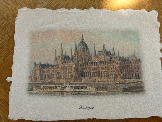 Old Budapest engraving on parchment