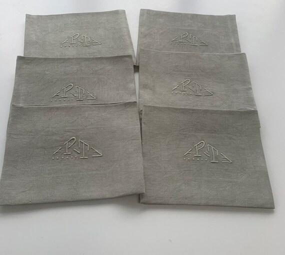 6 large monogrammed napkins PT, tinted khaki, old art deco