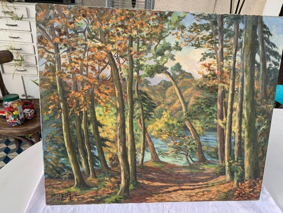 Unframed waterfront trees painting, stretched canvas, signed vintage Guyot