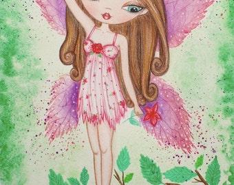 Fairy Art print. Girls room art. Fairy watercolor painting. Fantasy art. Girls room decor. Nursery art. Fairy doll illustration. Faerie art.