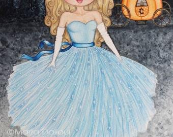 Cinderella art print, princess art print, girls room art decor, cinderella watercolor, cute art for girls room, gift for her, fairy tale art