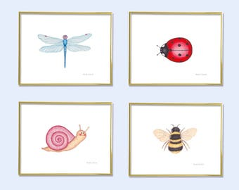 Nursery art set of 4. Watercolor Garden art prints. Girls room art. Baby girl garden nursery wall art decor. Garden creature illustration.