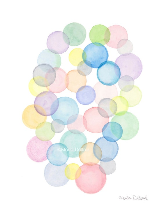 bubble art print watercolor bubbles painting abstract etsy