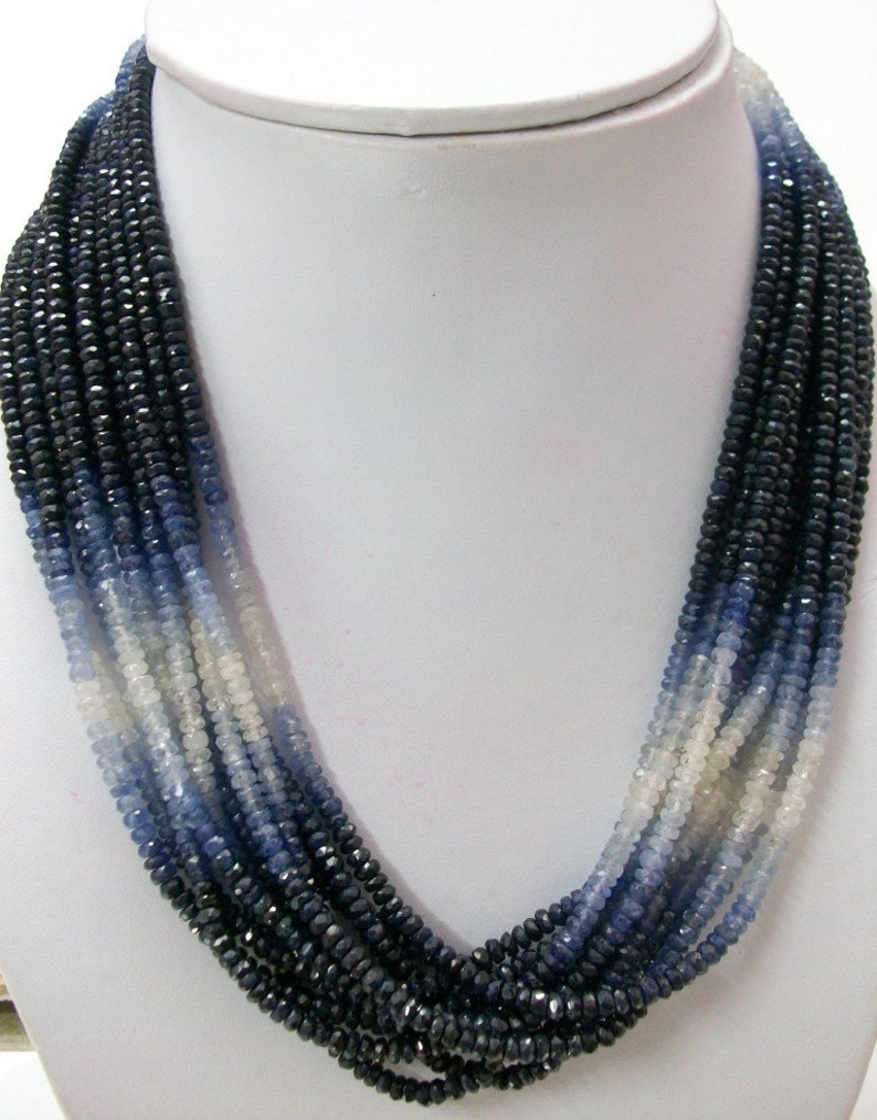 Natural BLUE SAPPHIRE Beads Shaded Rondelle Faceted AAA Quality Faceted Beads 4.5mm Blue Sapphire Rondelle Beads Shaded Faceted Gemstone