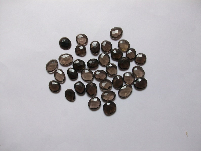 10X12mm to 15x20mm 50 Carat Smoky QUARTZ Rosecut Uneven Flat Faceted Gemstone.... lot... free size approx..