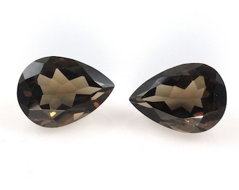 2 pieces 14x9mm SMOKY Pear faceted gemstone.....beautiful chocolate brown color, SMOKY Faceted Pear Gemstone