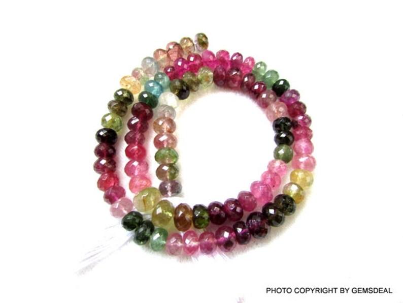 Faceted Tourmaline, AAA Quality Tourmaline Faceted Rondelle Beads Multi Tourmaline Rondelle Beads Watermelon Toumaline Beads 7mm Approx.