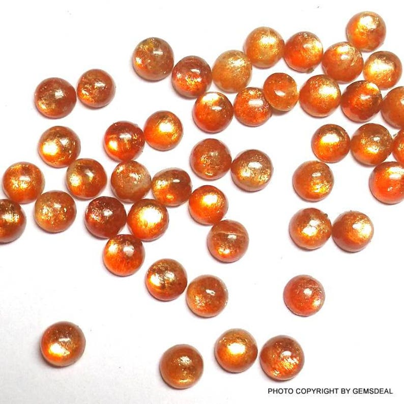 AAA Quality 100/% Natural Sunstone Cabochon amazing strong flashy cabs 10 pcs 4mm Sunstone Cabochon Round Gemstone Sunstone Round Cabochon