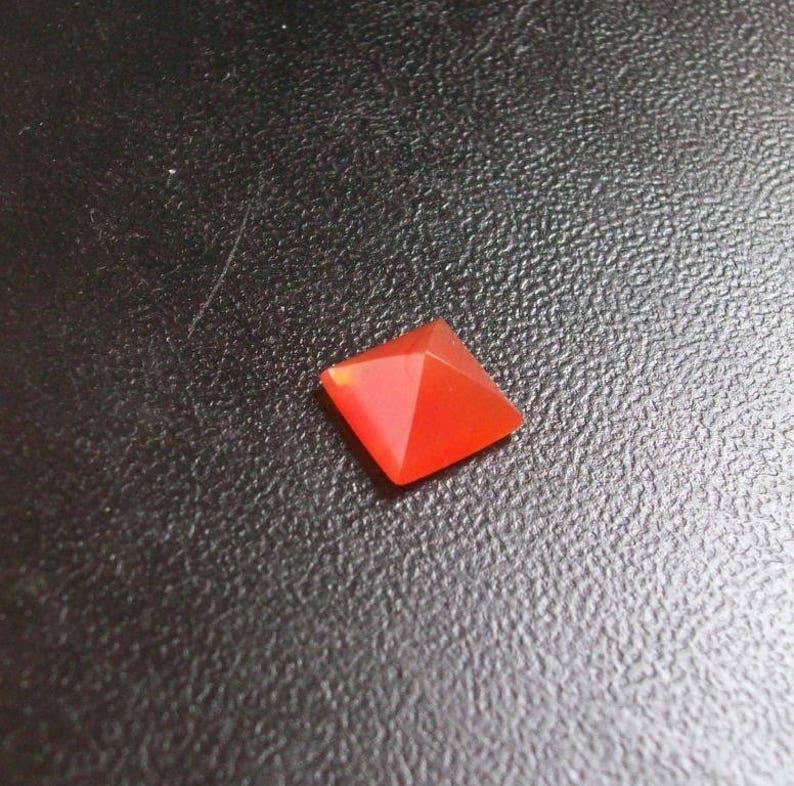 Natural Carnelian gemstone 6mm pyramid Square Gemstone 10 pieces 6mm Carnelian pyramid Gemstone Square Pyramid Flat Gemstone AAA Quality