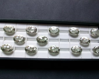 13X18mm GREEN AMETHYST Faceted Oval Checker Gemstone..... Green Amethyst Oval Faceted Loose Gemstone