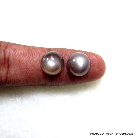 2 de pièces très Rare paire de 2 11mm Pierre de lune au chocolat Cabochon ronde pierre gemme, AAA magnifique belle chocolat ronde Cabochon Pierre de lune 207de1