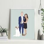 Custom Couple Illustration, Personalized Portrait, Anniversary Gift, Custom Family Portrait