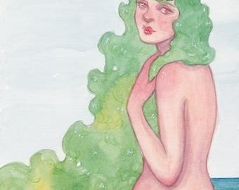 MerMay Day 23 - Original Watercolor Painting - Pop Surrealism Fantasy Fairytale