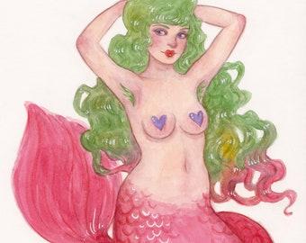 MerMay Day 15 - Original Watercolor Painting - Pop Surrealism Fantasy Fairytale