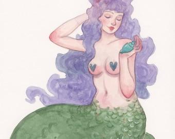 MerMay Day 3 - Original Watercolor Painting - Pop Surrealism Fantasy Fairytale