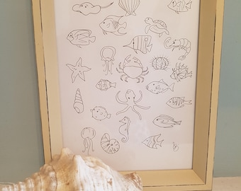 Baby shower keepsake~fingerprint art memento~fish~shells~under the sea~nursery decor~memento~colour in~learn and play