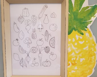 Baby shower keepsake~fingerprint art memento~fruit and vegetables~nursery decor~memento~colour in~learn and play