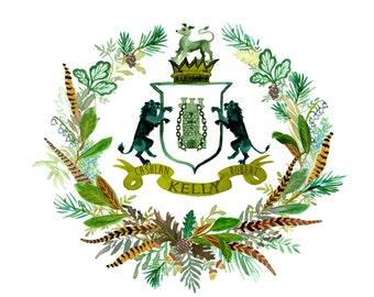 Hand Painted Custom Heraldry - Monogram, masculine, boy, baby, announcement, lion, celtic, irish, pine, oak, forest, fall, winter, pheasant