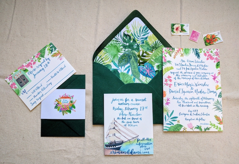 Brush Calligraphy heron island southern pelican Hand Drawn Custom Wedding Invitation Suite: Florida Lakeside cattail Lake Boating