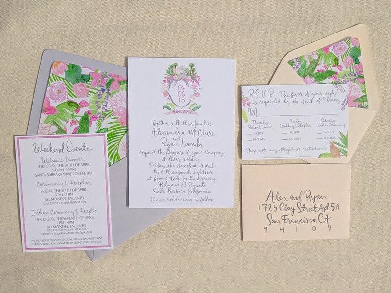 Hand Painted Custom Wedding Invitation Suite: watercolor santa barbara crest illustrated monogram tropical belmond el encanto peonies