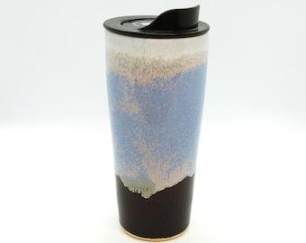 Handmade Ceramic Travel Mug, Serenity Color, 20oz
