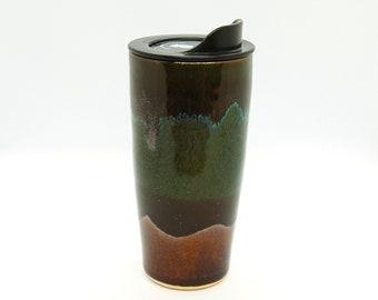 Handmade Ceramic Travel Mug, Forest Color, 20oz