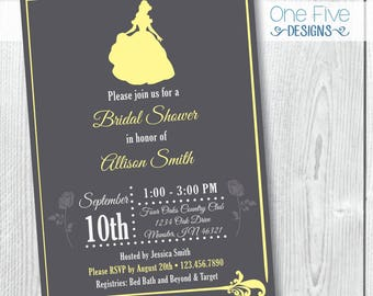 princess theme bridal shower invitation beauty and the beast bridal shower invitation belle bridal shower invitation printable 5x7
