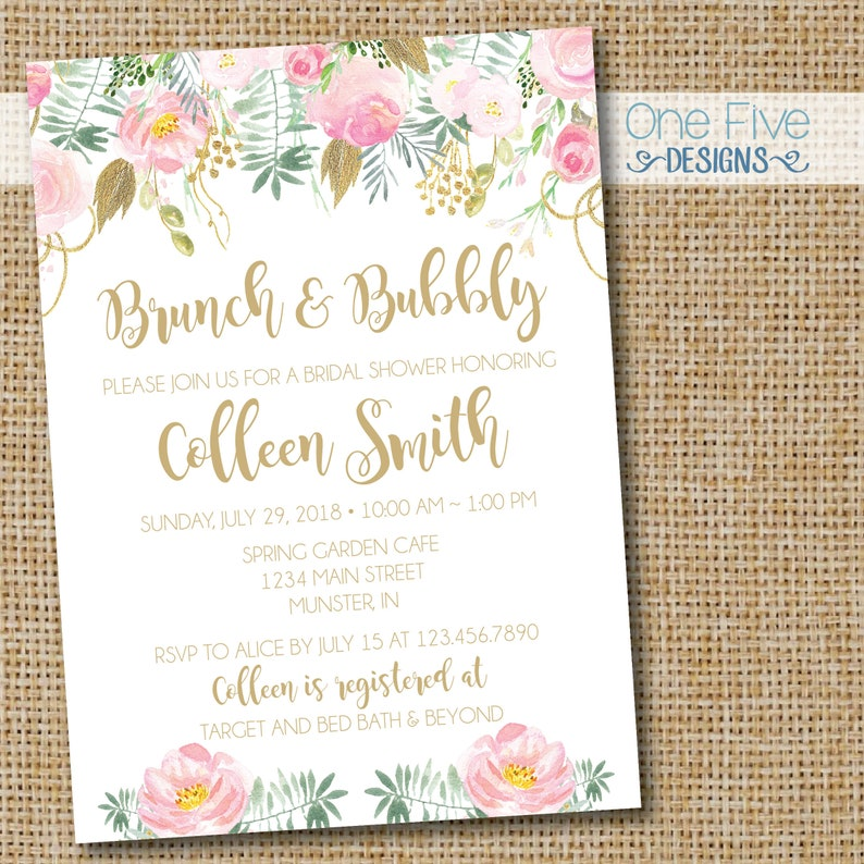 b4a3a1089f5c Brunch   Bubbly Bridal Shower Invitation with Blush Pink Gold