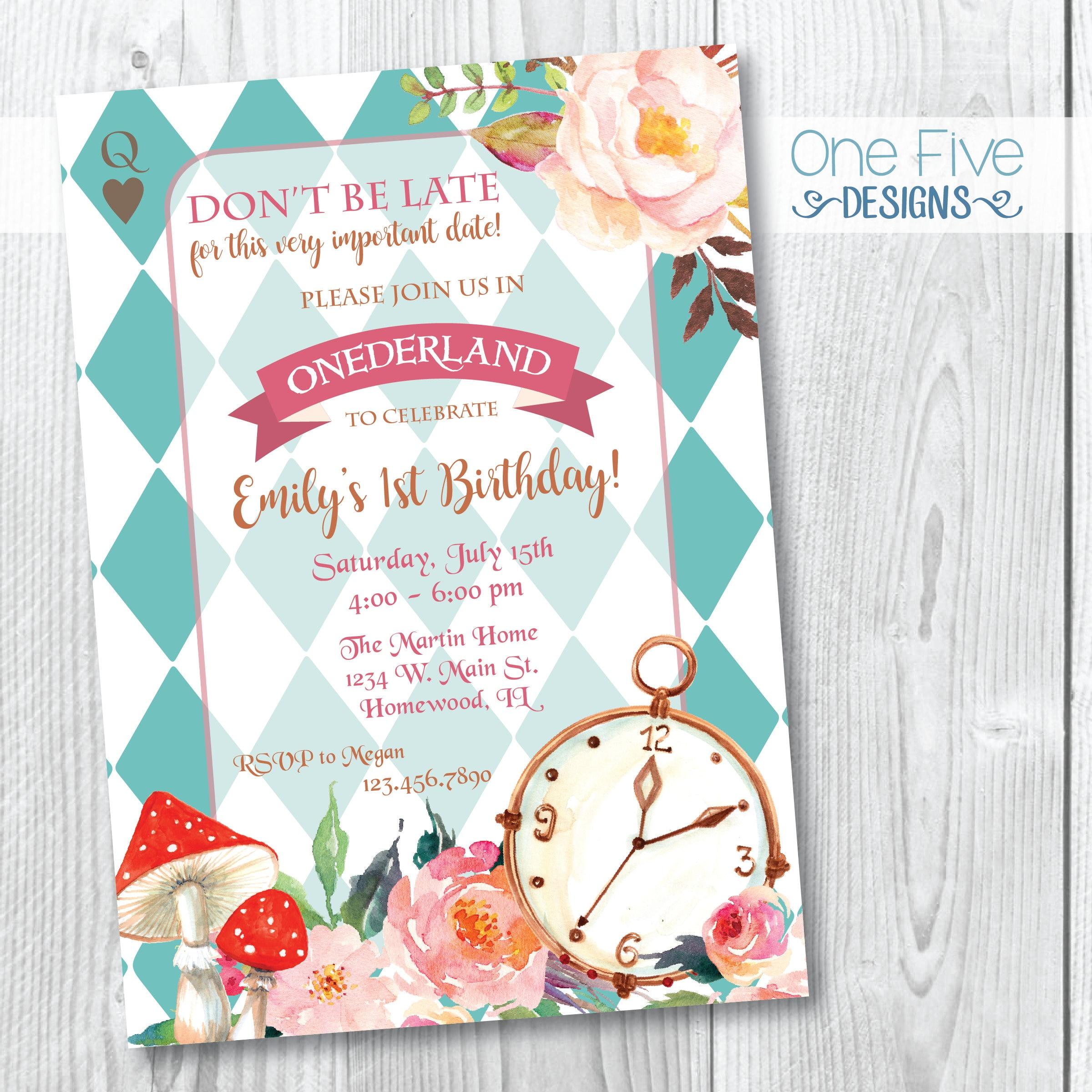 Watercolor Alice In Wonderland Birthday Party Invitation | Etsy