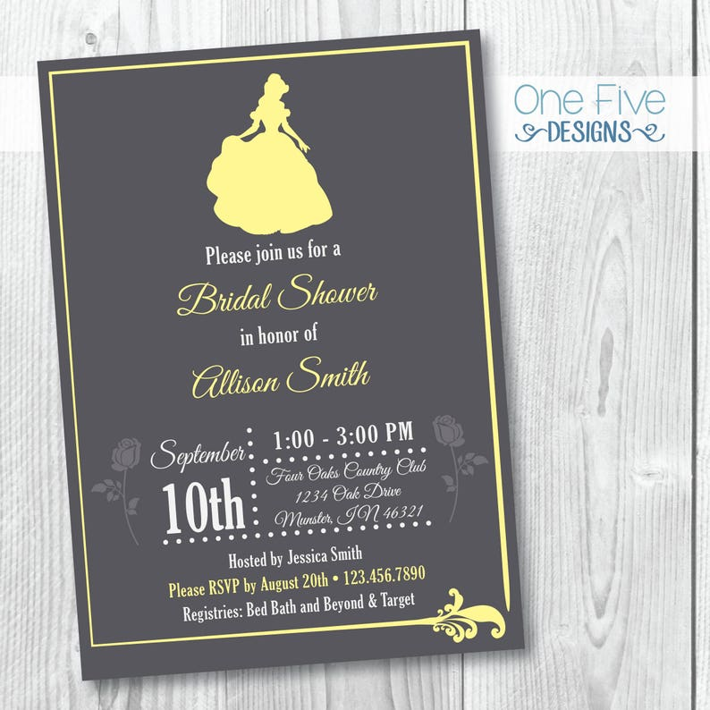 a2440f1d79f Princess Theme Bridal Shower Invitation Beauty and the Beast