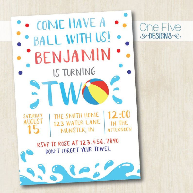 Beach Ball Pool Party Summer Bbq Second 2nd Birthday