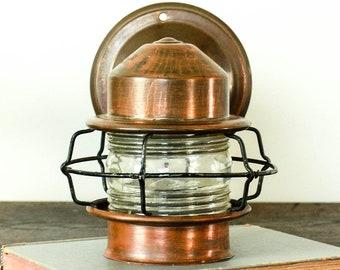 Vintage Copper Sconce Light, Ship Light, Ship Lantern, Copper Porch Light, Nautical Lantern Sconce Lighting, Lantern Lamp, Sconce Wall Light