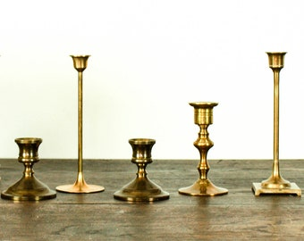 Vintage Brass Candle Holders Lighting Rustic Wedding Decor Table Settings 4 Candlesticks French Country Farmhouse Prairie Cottage