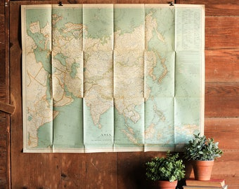 Vintage Asia Continent Map Poster, World Map Print, Push Pin Travel Map, School Map, National Geographic Maps, Geography Classroom Maps