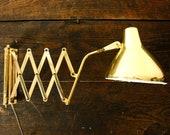 Vintage Gold Extension Lamp, Accordion Lamp, Scissor Arm Lamp, Accordion Light, Mid Century Wall Mount Light, Adjustable Lamp Mid Century