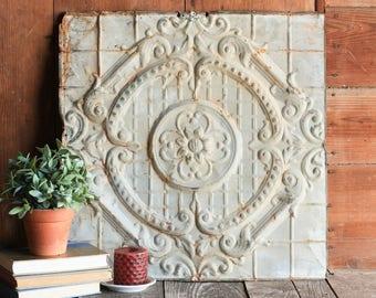 Vintage Tin Tile, Architectural Salvage, Metal Ceiling Tile, Shabby Chic Mantel Decor, Pressed Tin, Farmhouse Wall Decor, Chippy White