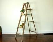 Vintage Ladder, Plant Ladder, Blanket Ladder Rack, Wooden Ladder Outdoor, Ladder Plant Stand, Rustic Ladder, Orchard Ladder, Tall Ladder