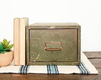 Vintage File Cabinet, Metal File Drawer, Library Card Catalog, Industrial Drawer, Desktop Organizer, Vintage Office Storage, Cubby Storage
